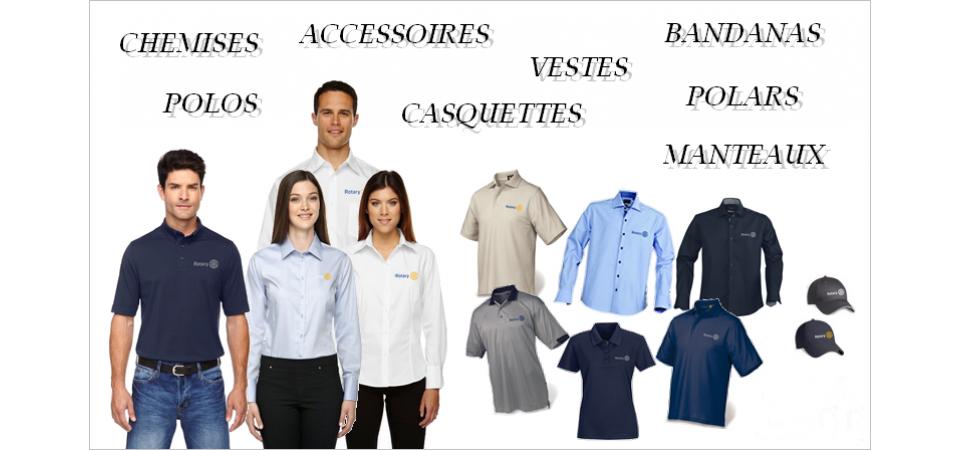 Surplus d'inventaire de vêtements avec logo Rotary